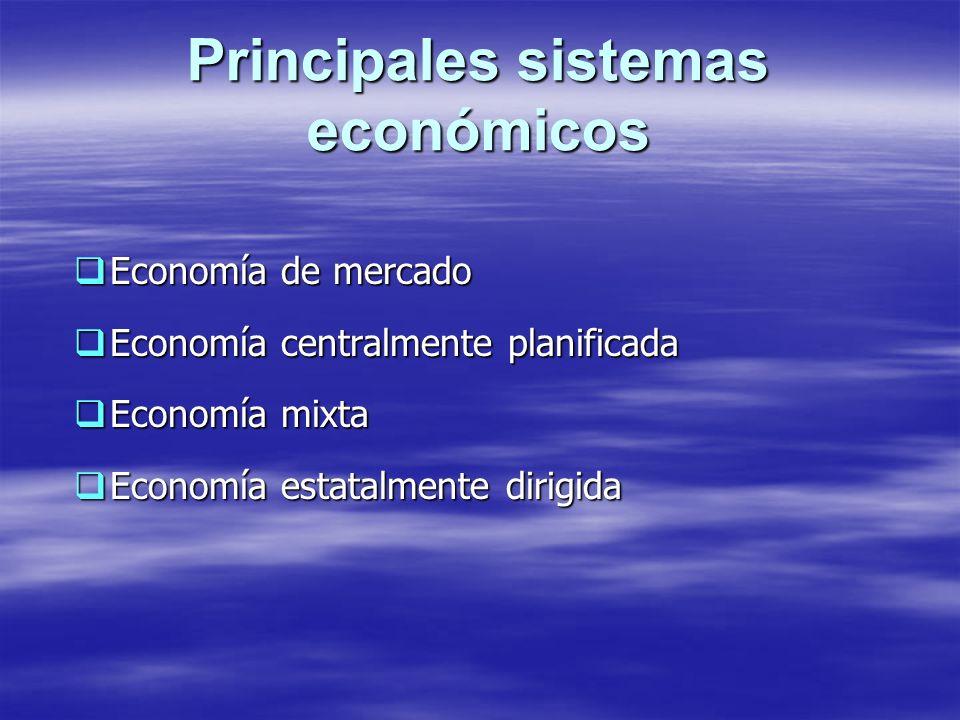 Principales sistemas económicos Economía de mercado Economía de mercado Economía centralmente planificada Economía centralmente planificada Economía m