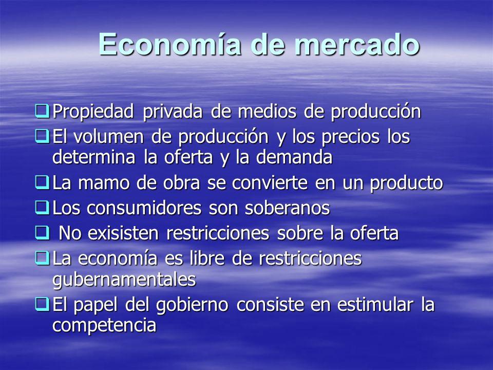 Economía de mercado Propiedad privada de medios de producción Propiedad privada de medios de producción El volumen de producción y los precios los det