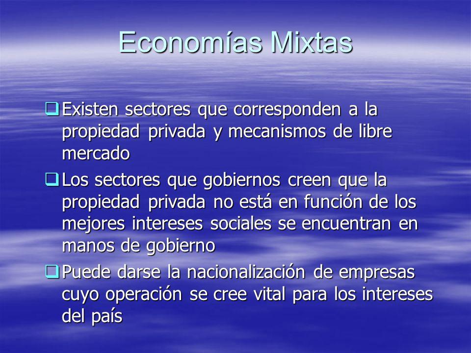Economías Mixtas Existen sectores que corresponden a la propiedad privada y mecanismos de libre mercado Existen sectores que corresponden a la propied