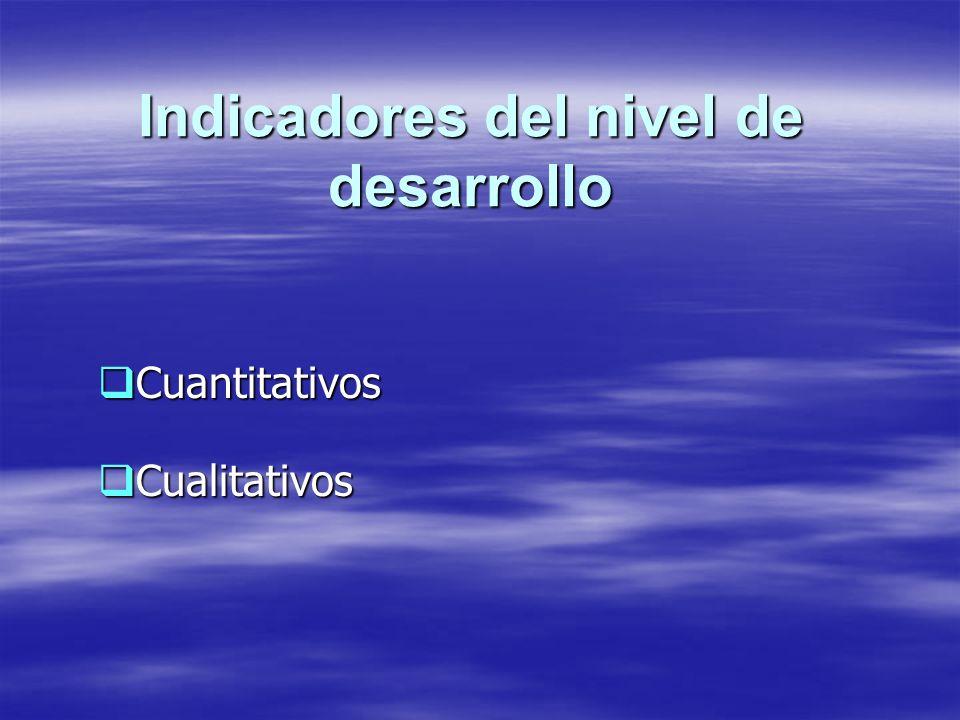Indicadores del nivel de desarrollo Cuantitativos Cuantitativos Cualitativos Cualitativos