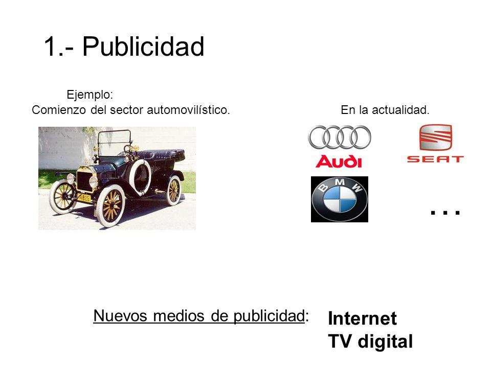 1.- Publicidad Ejemplo: Comienzo del sector automovilístico. En la actualidad. … Nuevos medios de publicidad: Internet TV digital