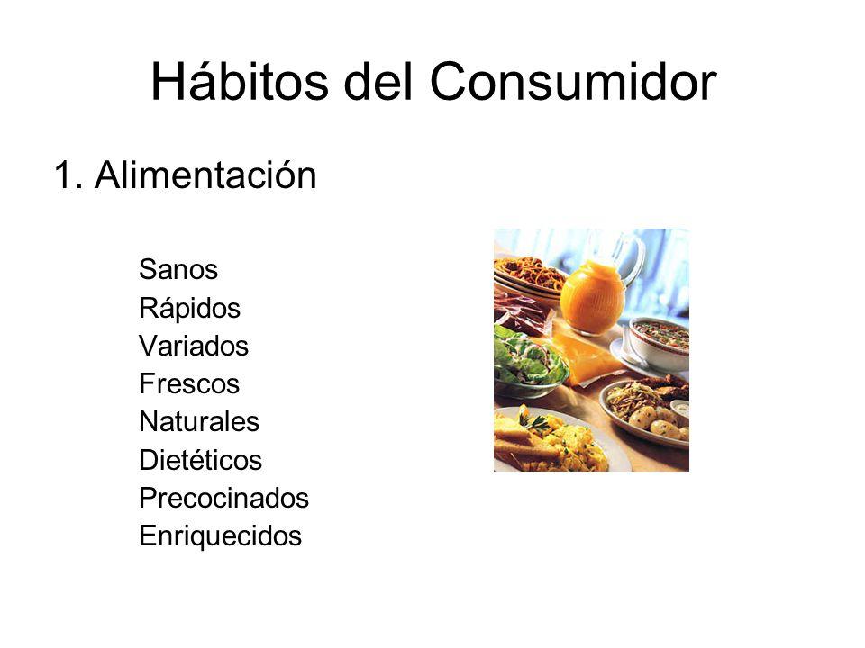 Hábitos del Consumidor 1. Alimentación Sanos Rápidos Variados Frescos Naturales Dietéticos Precocinados Enriquecidos