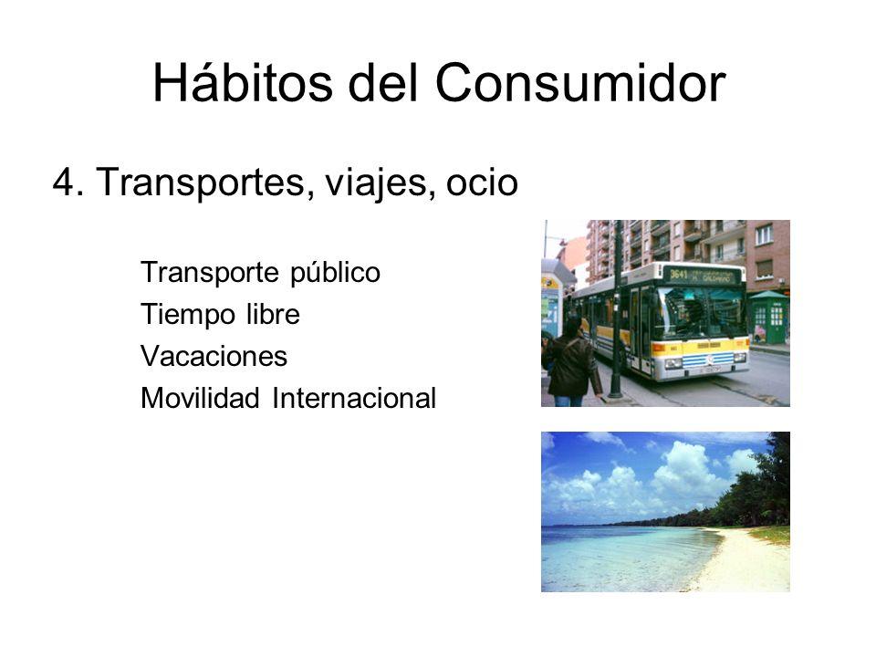 Hábitos del Consumidor 4. Transportes, viajes, ocio Transporte público Tiempo libre Vacaciones Movilidad Internacional