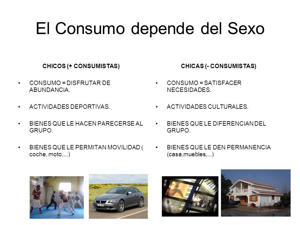 El Consumo depende del Sexo CHICOS (+ CONSUMISTAS) CONSUMO = DISFRUTAR DE ABUNDANCIA. ACTIVIDADES DEPORTIVAS. BIENES QUE LE HACEN PARECERSE AL GRUPO.
