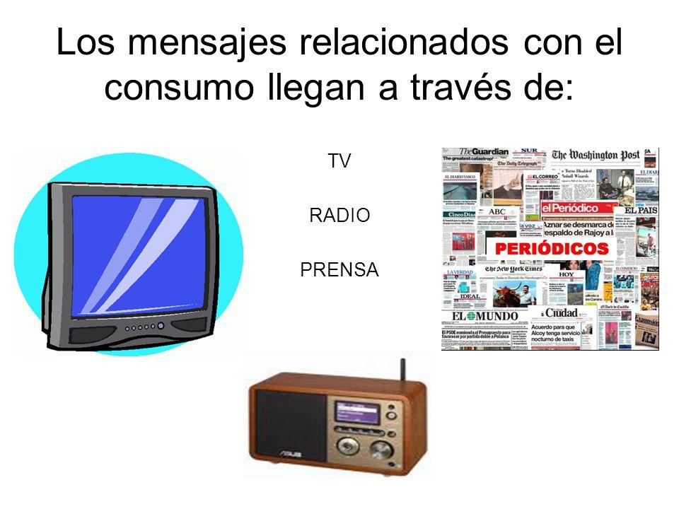 Los mensajes relacionados con el consumo llegan a través de: TV RADIO PRENSA