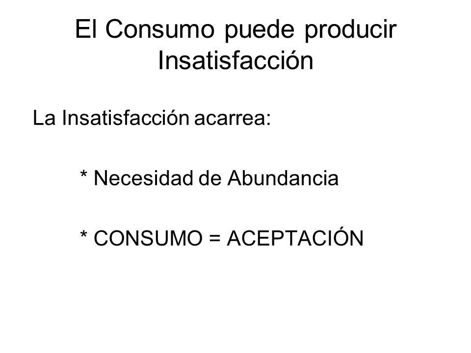 El Consumo puede producir Insatisfacción La Insatisfacción acarrea: * Necesidad de Abundancia * CONSUMO = ACEPTACIÓN
