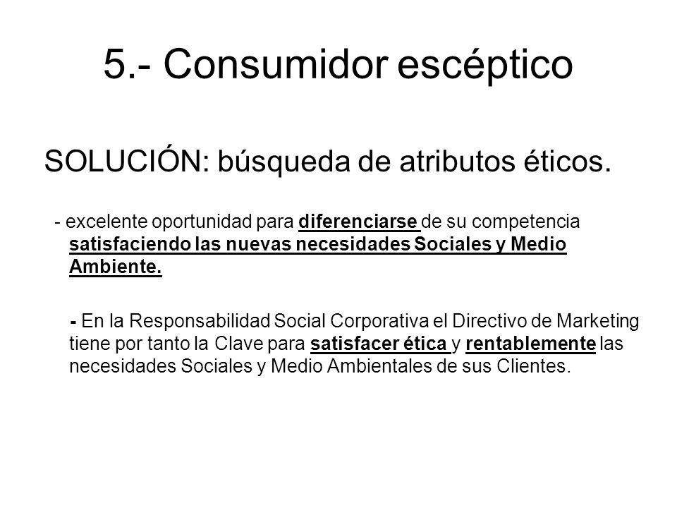 5.- Consumidor escéptico SOLUCIÓN: búsqueda de atributos éticos. - excelente oportunidad para diferenciarse de su competencia satisfaciendo las nuevas