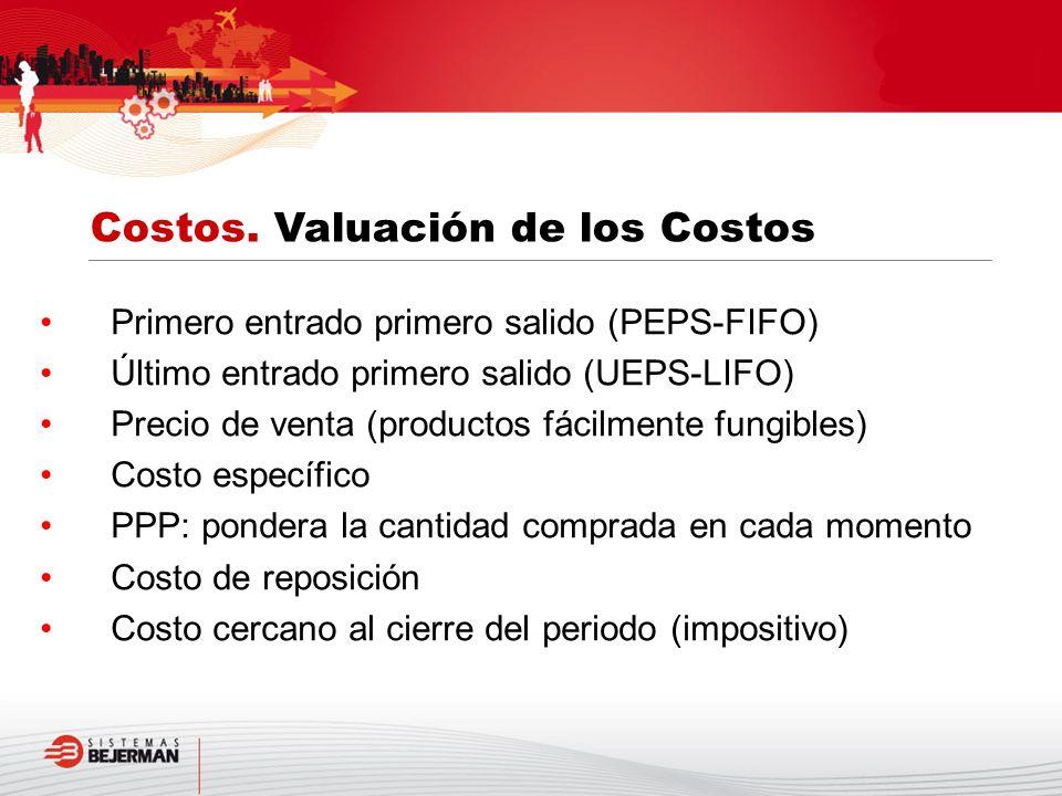 Primero entrado primero salido (PEPS-FIFO) Último entrado primero salido (UEPS-LIFO) Precio de venta (productos fácilmente fungibles) Costo específico