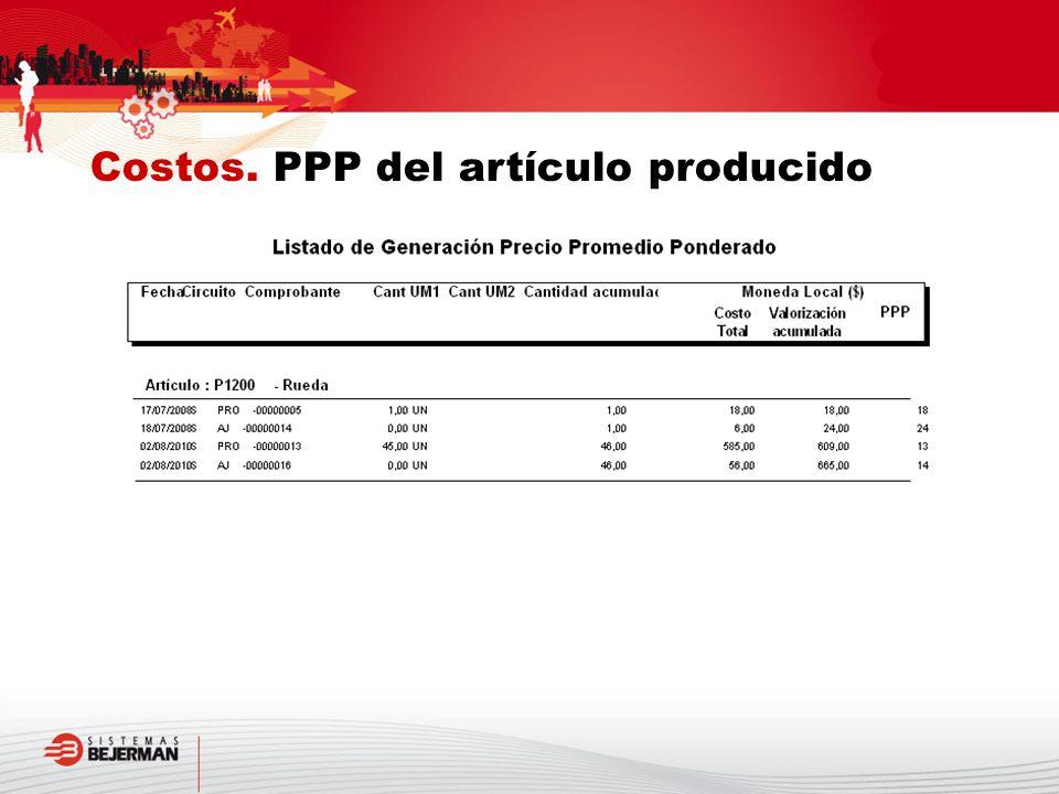 Costos. PPP del artículo producido