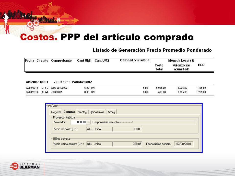 Costos. PPP del artículo comprado