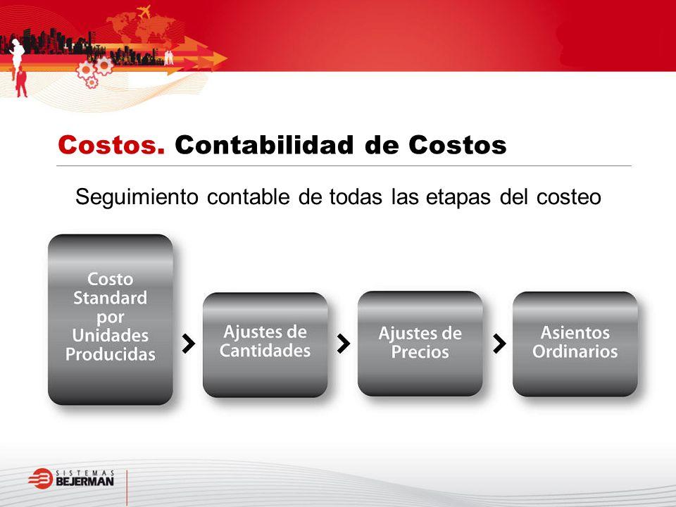 Seguimiento contable de todas las etapas del costeo Costos. Contabilidad de Costos