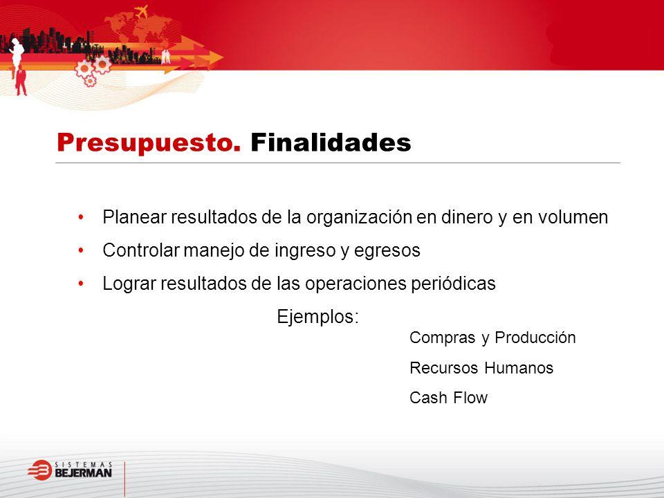 Planear resultados de la organización en dinero y en volumen Controlar manejo de ingreso y egresos Lograr resultados de las operaciones periódicas Eje
