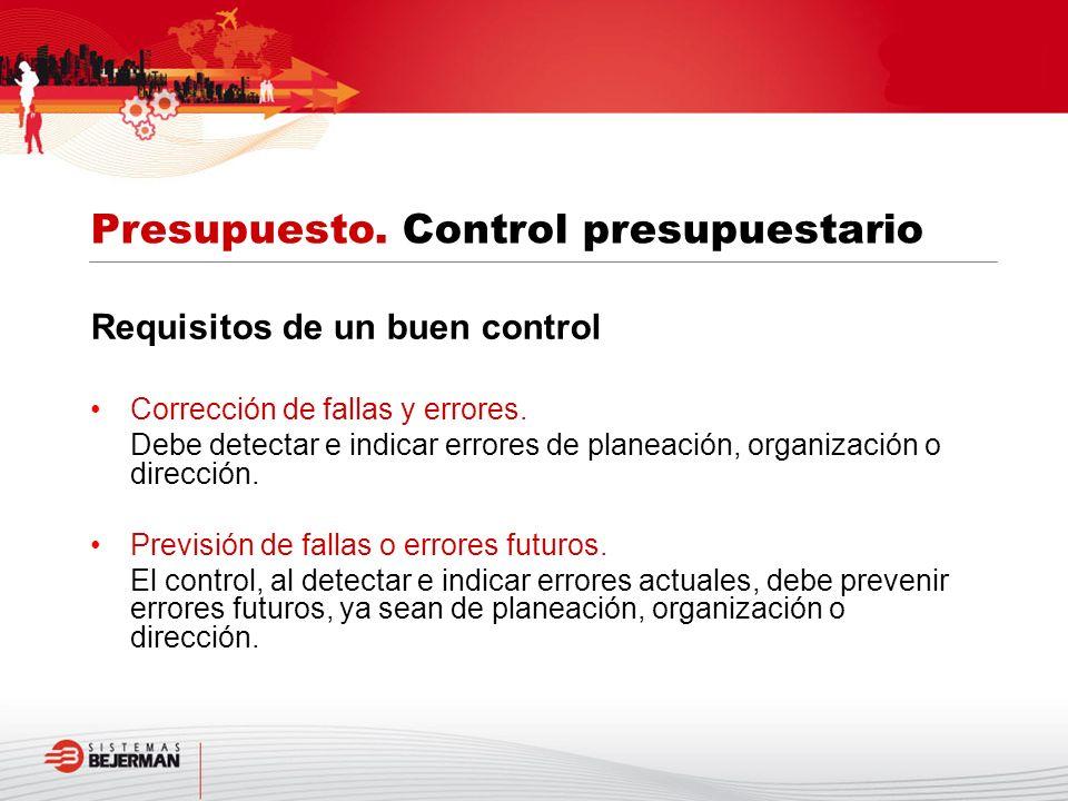 Requisitos de un buen control Corrección de fallas y errores. Debe detectar e indicar errores de planeación, organización o dirección. Previsión de fa