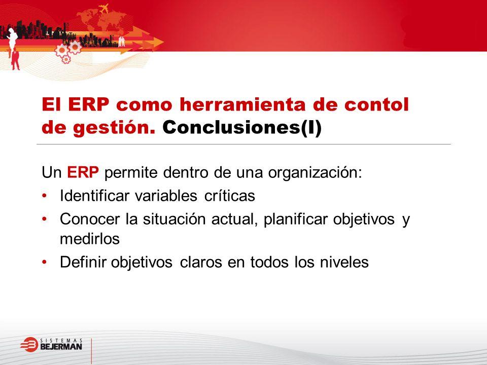 Un ERP permite dentro de una organización: Identificar variables críticas Conocer la situación actual, planificar objetivos y medirlos Definir objetiv