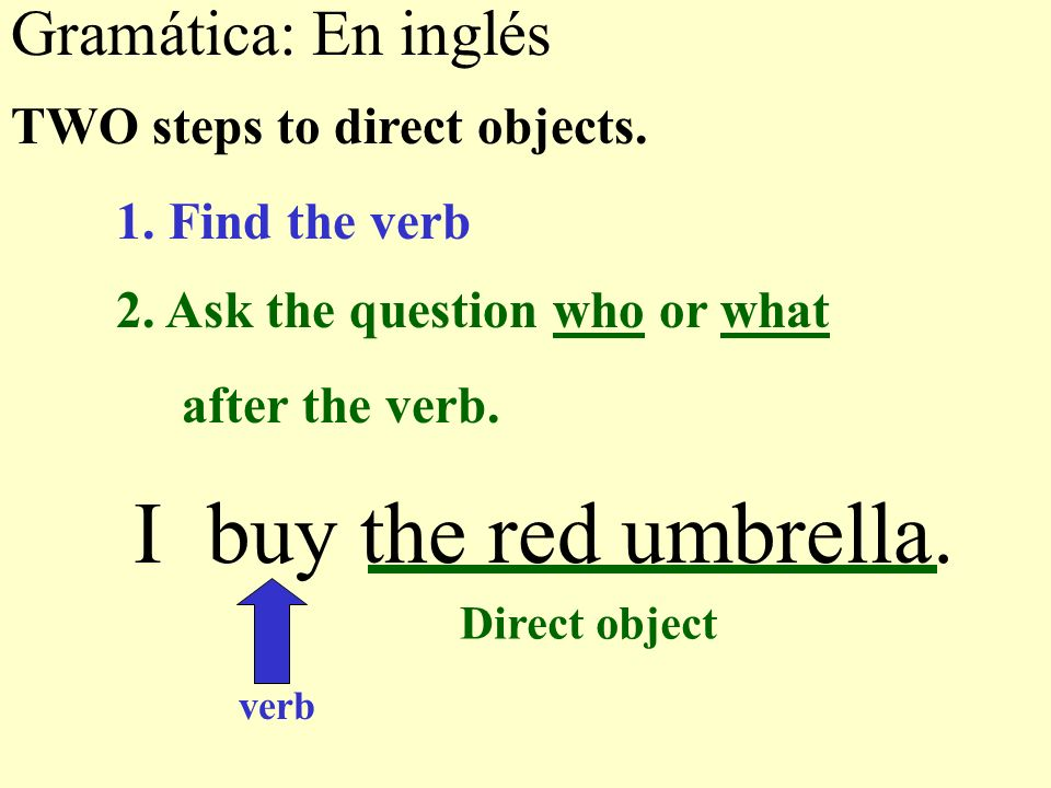 Gramática: En inglés I buy the red umbrella. TWO steps to direct objects.