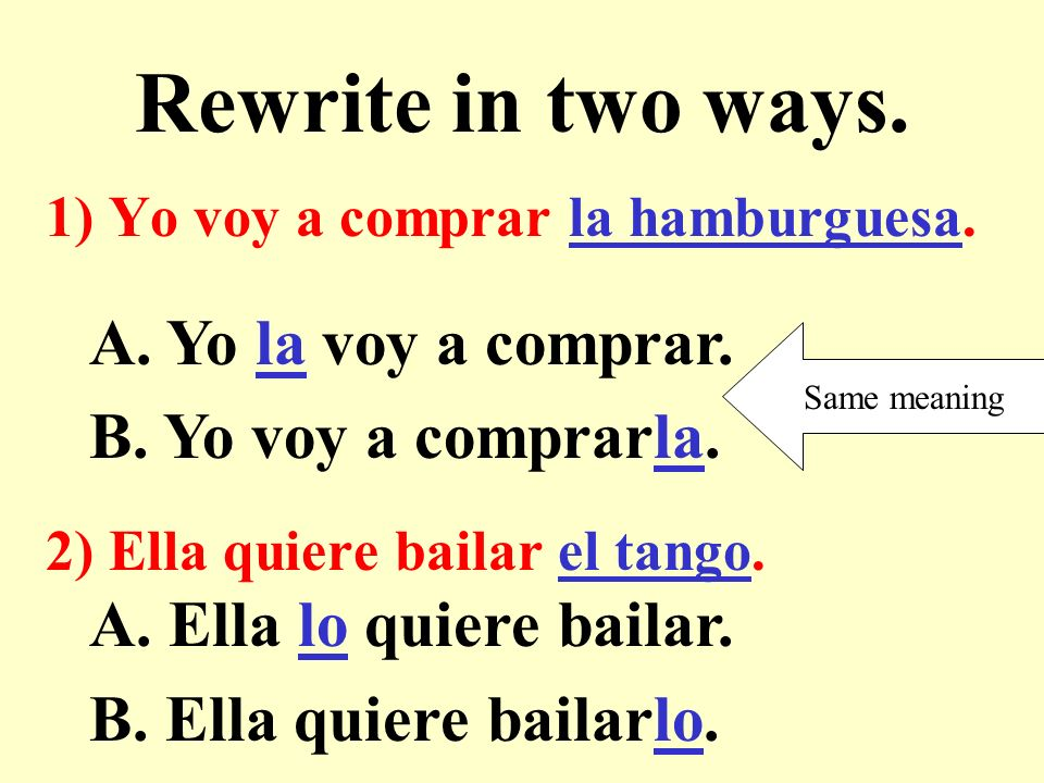 Rewrite in two ways. 1) Yo voy a comprar la hamburguesa.