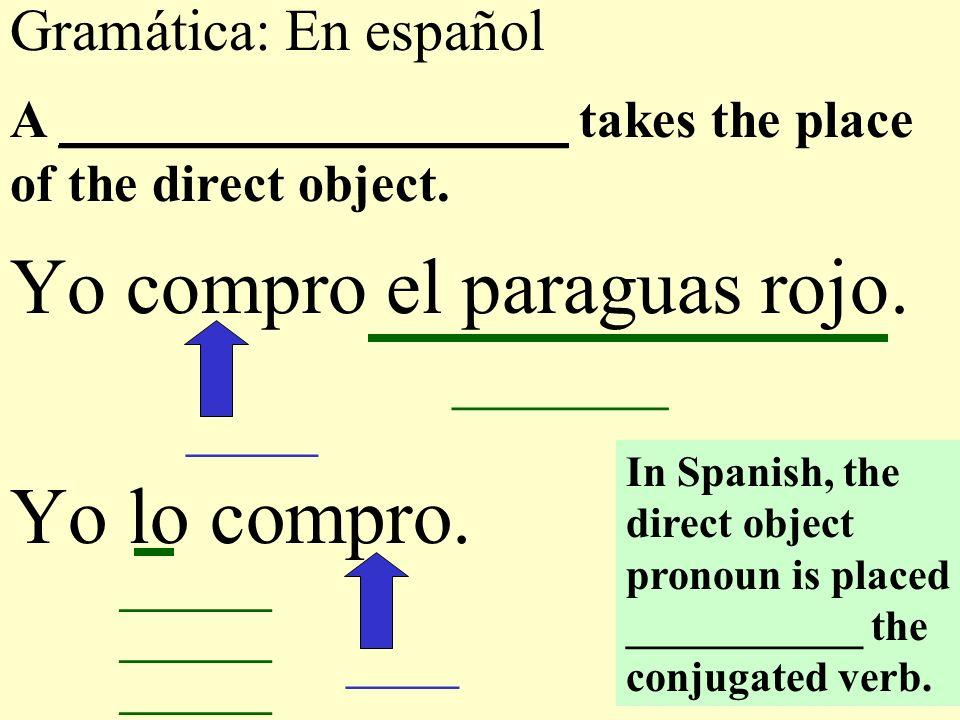 Gramática: En español Yo compro el paraguas rojo. Yo lo compro.