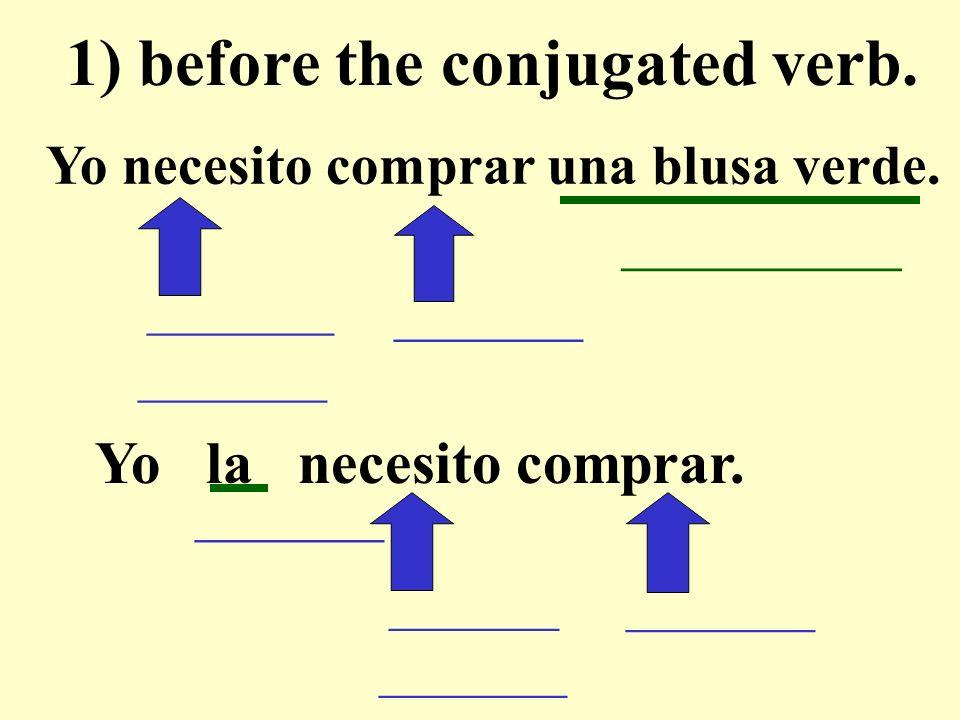 Yo necesito comprar una blusa verde. __________ 1) before the conjugated verb.