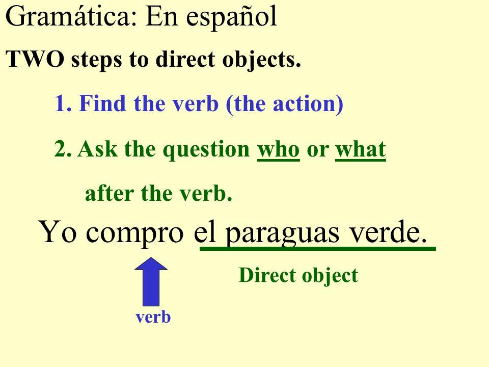 Gramática: En español Yo compro el paraguas verde.