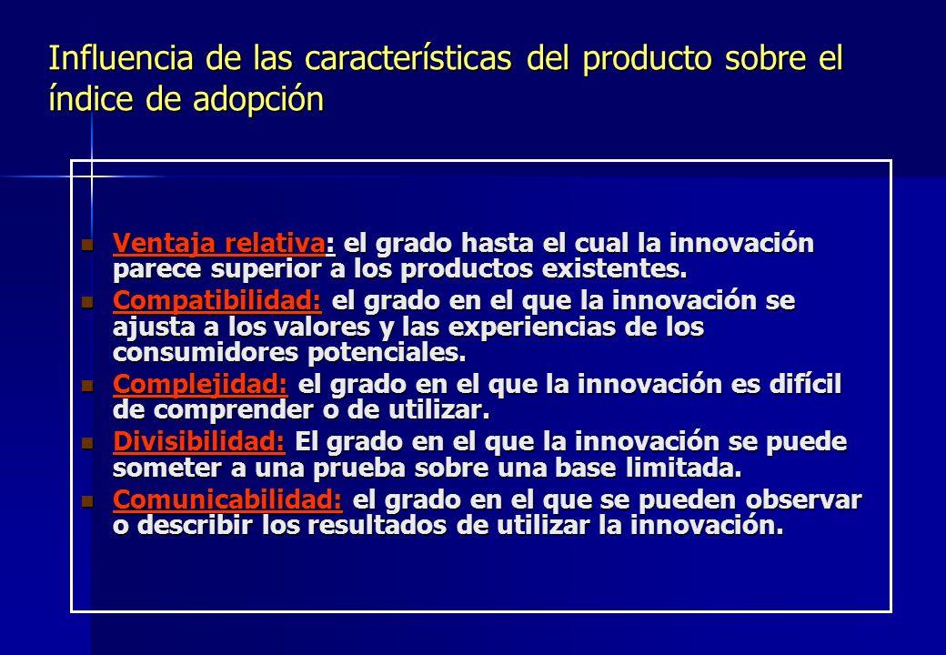 Influencia de las características del producto sobre el índice de adopción Ventaja relativa: el grado hasta el cual la innovación parece superior a lo
