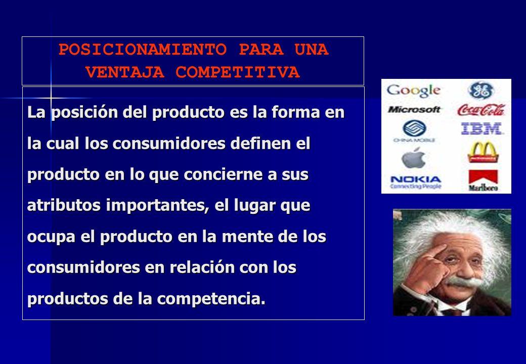 La posición del producto es la forma en la cual los consumidores definen el producto en lo que concierne a sus atributos importantes, el lugar que ocu