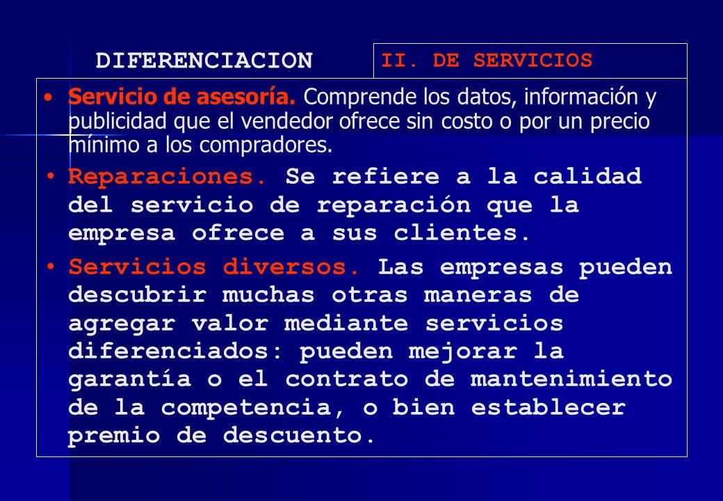 DIFERENCIACION II. DE SERVICIOS Servicio de asesoría. Comprende los datos, información y publicidad que el vendedor ofrece sin costo o por un precio m