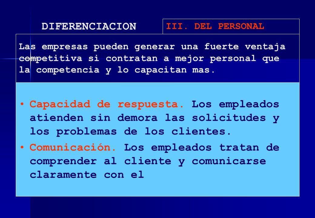 DIFERENCIACION III. DEL PERSONAL Capacidad de respuesta. Los empleados atienden sin demora las solicitudes y los problemas de los clientes. Comunicaci