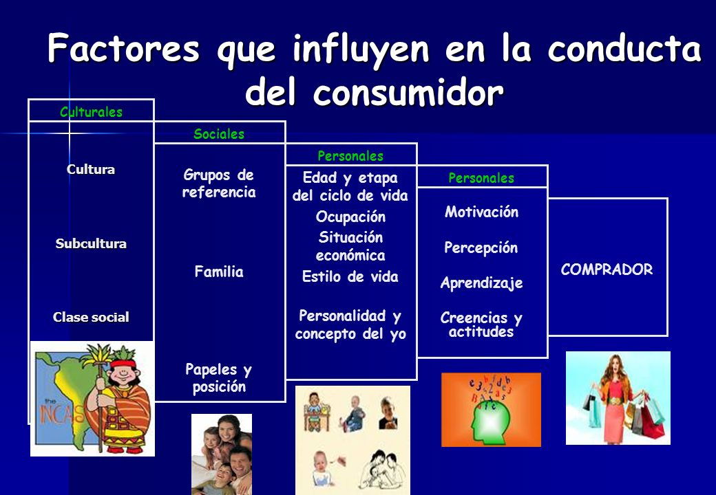 CulturaSubcultura Clase social Culturales Grupos de referencia Familia Papeles y posición Sociales Personales Edad y etapa del ciclo de vida Ocupación