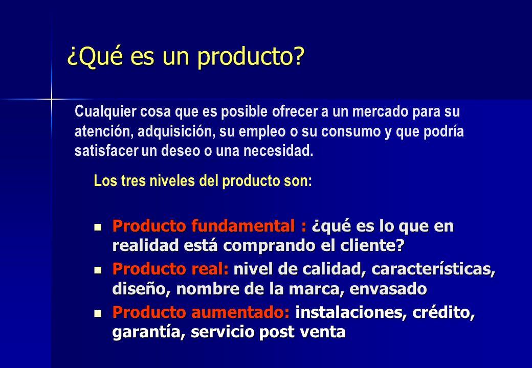 ¿Qué es un producto? Producto fundamental : ¿qué es lo que en realidad está comprando el cliente? Producto fundamental : ¿qué es lo que en realidad es