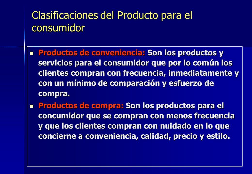 Clasificaciones del Producto para el consumidor Productos de conveniencia: Son los productos y servicios para el consumidor que por lo común los clien
