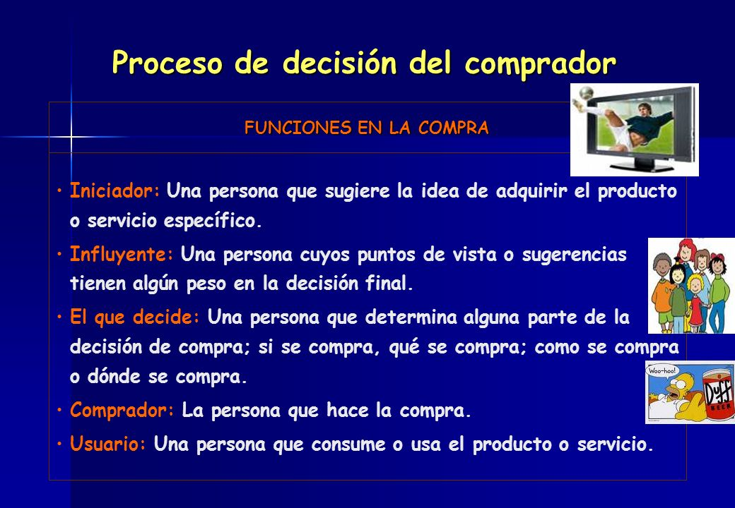 FUNCIONES EN LA COMPRA Iniciador: Una persona que sugiere la idea de adquirir el producto o servicio específico. Influyente: Una persona cuyos puntos