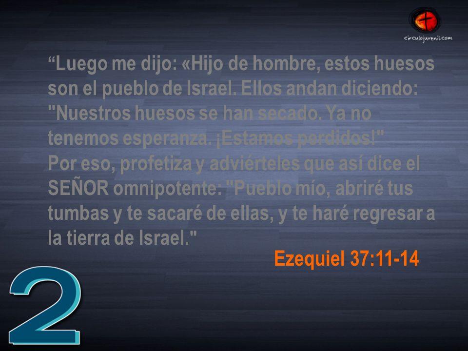 Luego me dijo: «Hijo de hombre, estos huesos son el pueblo de Israel.
