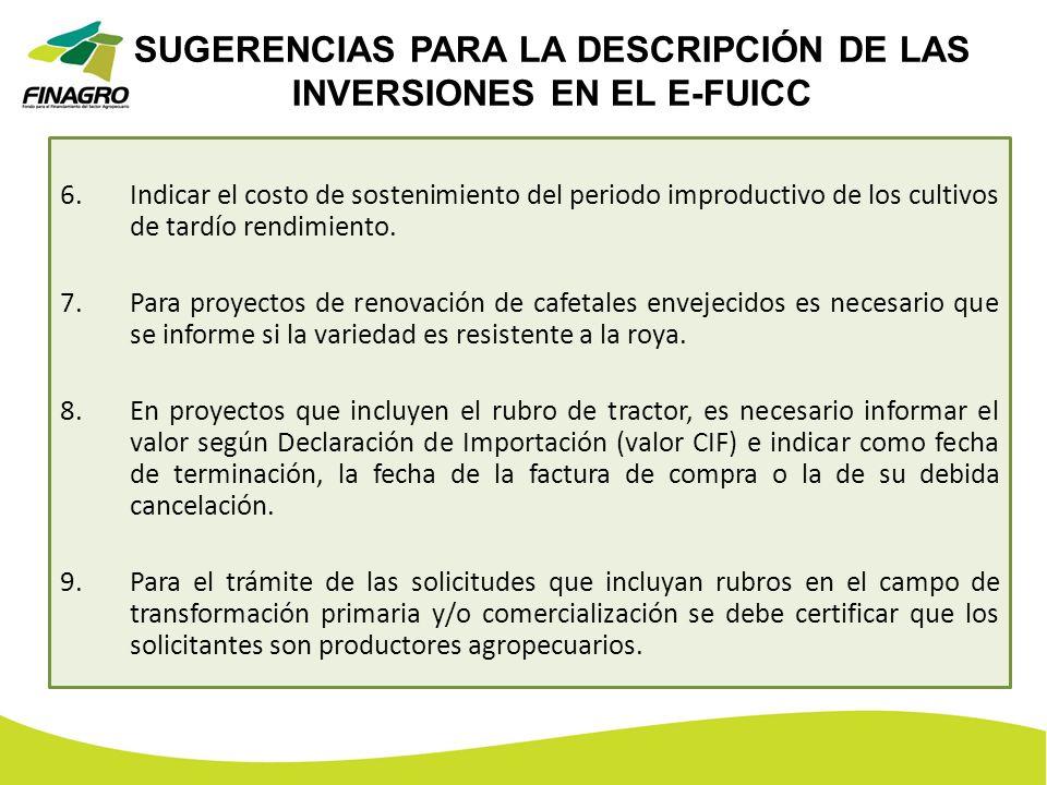 SUGERENCIAS PARA LA DESCRIPCIÓN DE LAS INVERSIONES EN EL E-FUICC 6.Indicar el costo de sostenimiento del periodo improductivo de los cultivos de tardí