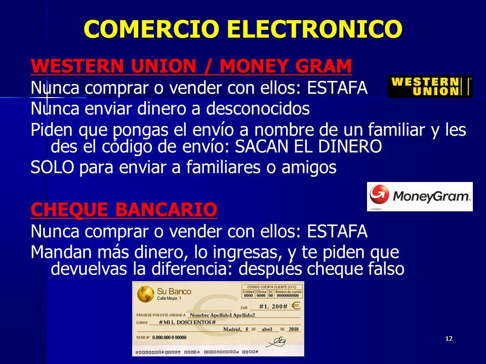 12 WESTERN UNION / MONEY GRAM Nunca comprar o vender con ellos: ESTAFA Nunca enviar dinero a desconocidos Piden que pongas el envío a nombre de un fam