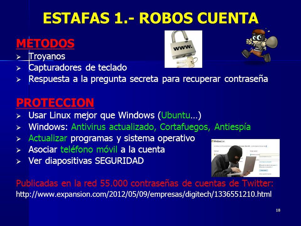 18 METODOS Troyanos Capturadores de teclado Respuesta a la pregunta secreta para recuperar contraseña PROTECCION Usar Linux mejor que Windows (Ubuntu…