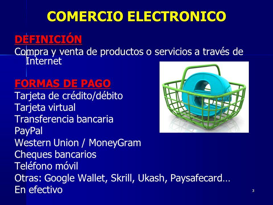3 DEFINICIÓN Compra y venta de productos o servicios a través de Internet FORMAS DE PAGO Tarjeta de crédito/débito Tarjeta virtual Transferencia banca