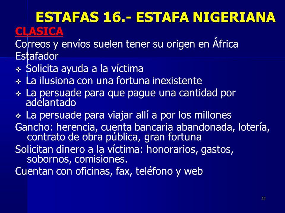 33 CLASICA Correos y envíos suelen tener su origen en África Estafador Solicita ayuda a la víctima La ilusiona con una fortuna inexistente La persuade