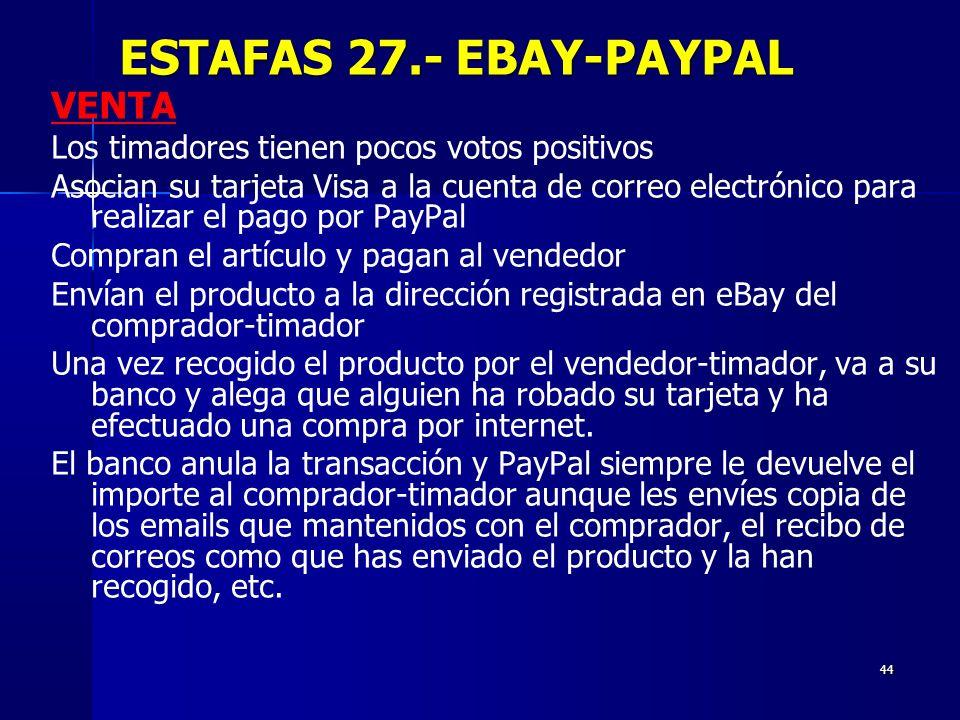 44 VENTA Los timadores tienen pocos votos positivos Asocian su tarjeta Visa a la cuenta de correo electrónico para realizar el pago por PayPal Compran