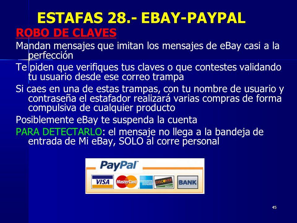 45 ROBO DE CLAVES Mandan mensajes que imitan los mensajes de eBay casi a la perfección Te piden que verifiques tus claves o que contestes validando tu