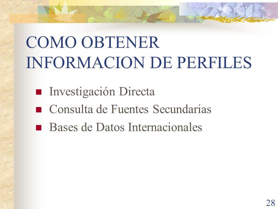 28 COMO OBTENER INFORMACION DE PERFILES Investigación Directa Consulta de Fuentes Secundarias Bases de Datos Internacionales