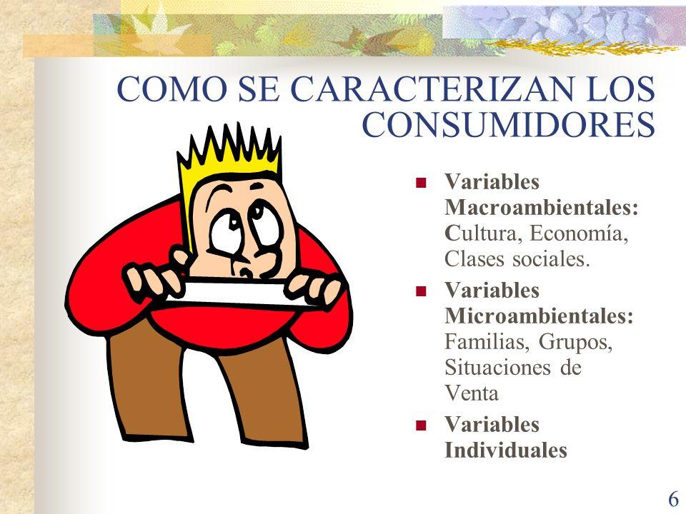 6 COMO SE CARACTERIZAN LOS CONSUMIDORES Variables Macroambientales: Cultura, Economía, Clases sociales.