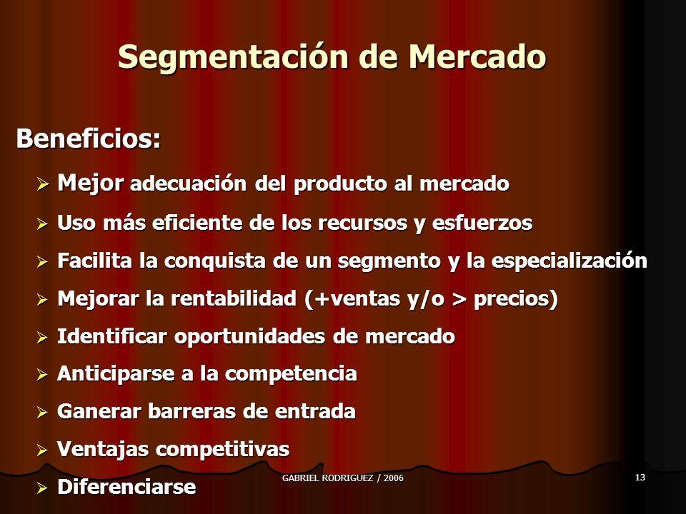 GABRIEL RODRIGUEZ / 2006 13 Segmentación de Mercado Beneficios: Beneficios: Mejor adecuación del producto al mercado Mejor adecuación del producto al mercado Uso más eficiente de los recursos y esfuerzos Uso más eficiente de los recursos y esfuerzos Facilita la conquista de un segmento y la especialización Facilita la conquista de un segmento y la especialización Mejorar la rentabilidad (+ventas y/o > precios) Mejorar la rentabilidad (+ventas y/o > precios) Identificar oportunidades de mercado Identificar oportunidades de mercado Anticiparse a la competencia Anticiparse a la competencia Ganerar barreras de entrada Ganerar barreras de entrada Ventajas competitivas Ventajas competitivas Diferenciarse Diferenciarse
