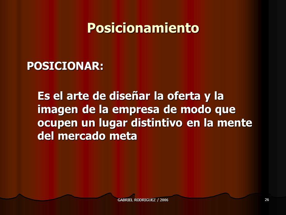 GABRIEL RODRIGUEZ / 2006 26 Posicionamiento POSICIONAR: Es el arte de diseñar la oferta y la imagen de la empresa de modo que ocupen un lugar distintivo en la mente del mercado meta