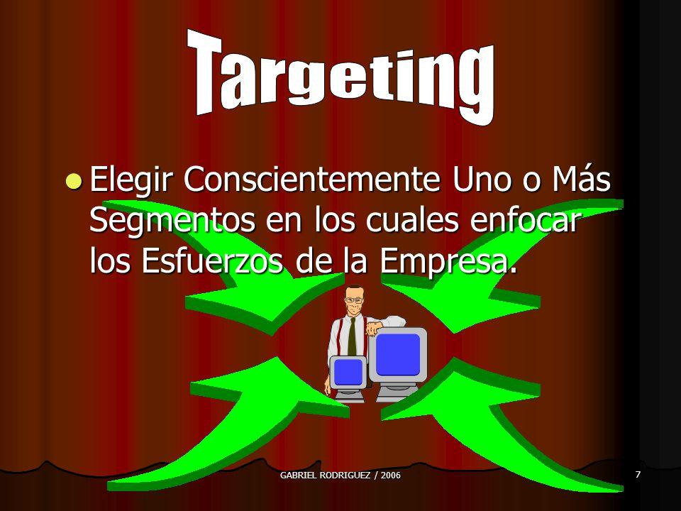 GABRIEL RODRIGUEZ / 2006 7 Elegir Conscientemente Uno o Más Segmentos en los cuales enfocar los Esfuerzos de la Empresa.