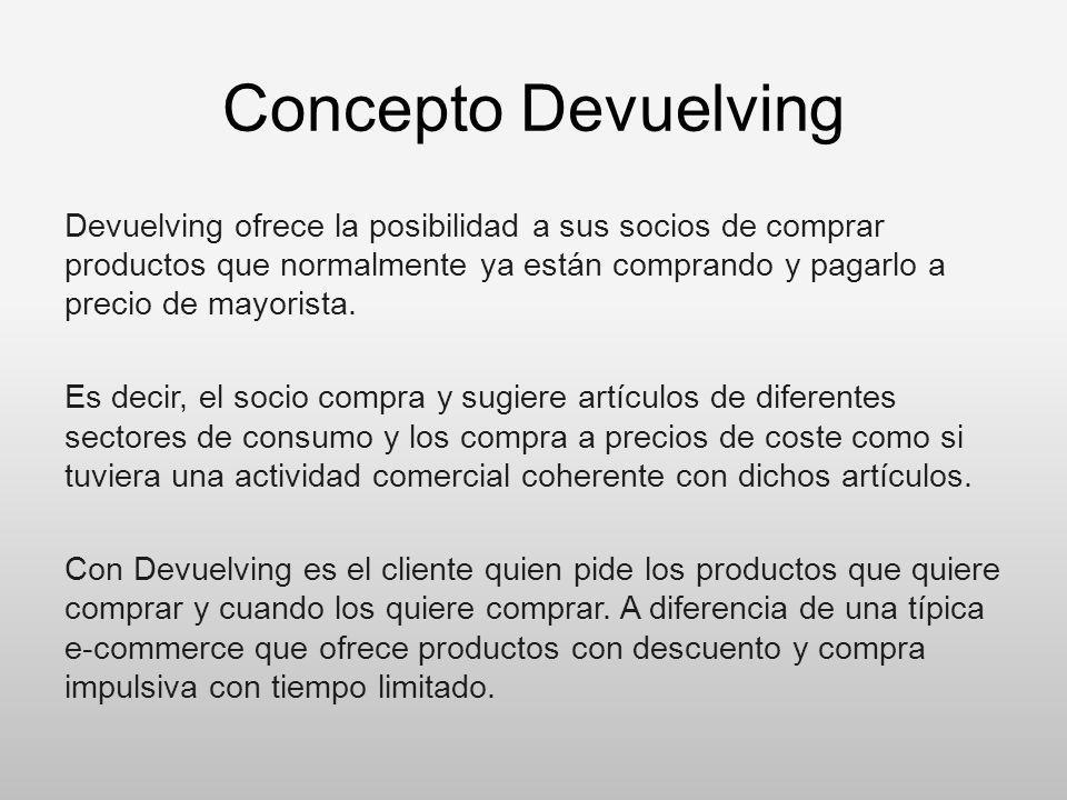 Concepto Devuelving Devuelving ofrece la posibilidad a sus socios de comprar productos que normalmente ya están comprando y pagarlo a precio de mayori