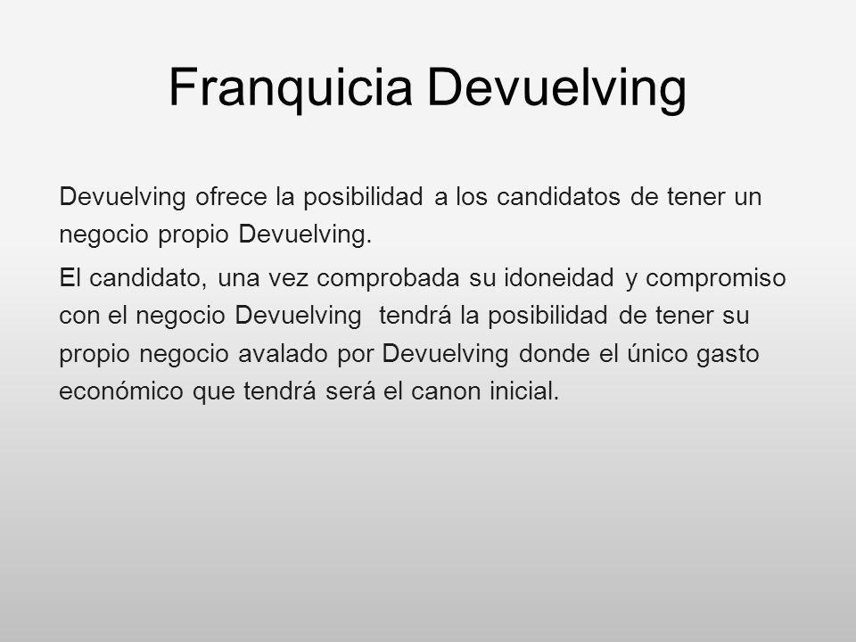 Franquicia Devuelving Devuelving ofrece la posibilidad a los candidatos de tener un negocio propio Devuelving. El candidato, una vez comprobada su ido