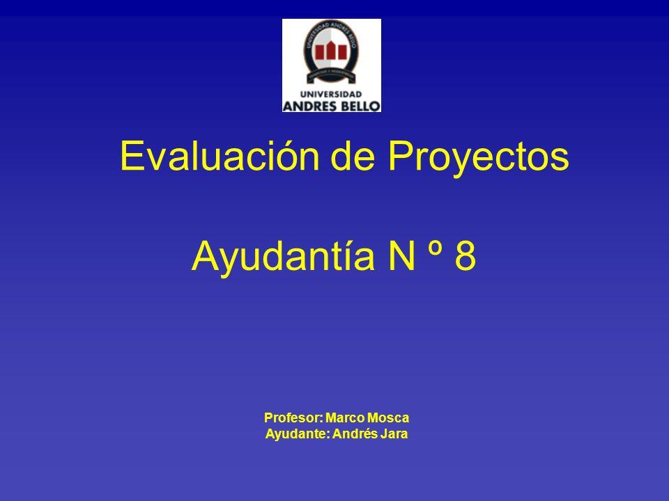 Ayudantía N º 8 Evaluación de Proyectos Profesor: Marco Mosca Ayudante: Andrés Jara