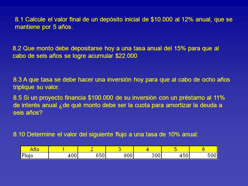 8.1 Calcule el valor final de un depósito inicial de $10.000 al 12% anual, que se mantiene por 5 años. 8.2 Que monto debe depositarse hoy a una tasa a