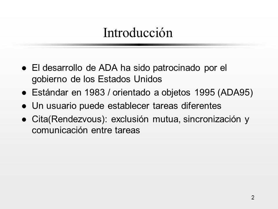 2 Introducción l El desarrollo de ADA ha sido patrocinado por el gobierno de los Estados Unidos l Estándar en 1983 / orientado a objetos 1995 (ADA95)
