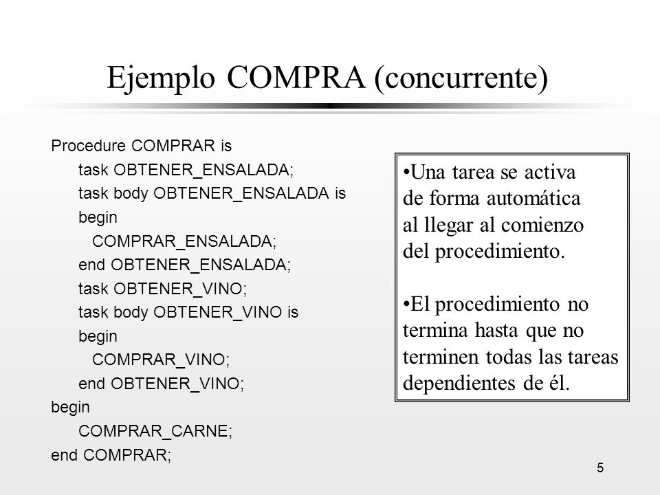 5 Ejemplo COMPRA (concurrente) Procedure COMPRAR is task OBTENER_ENSALADA; task body OBTENER_ENSALADA is begin COMPRAR_ENSALADA; end OBTENER_ENSALADA;